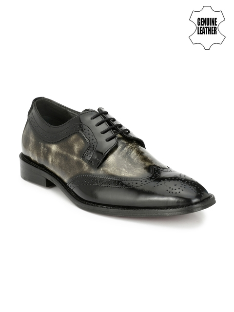 Hitz Mens Black & Grey Leather Brogue Semi-Formal Shoes