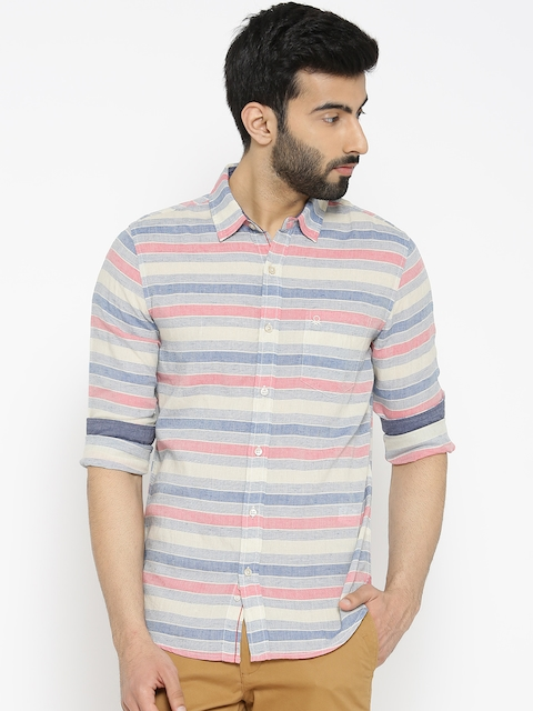 United Colors of Benetton Men Beige & Pink Slim Fit Striped Casual Shirt