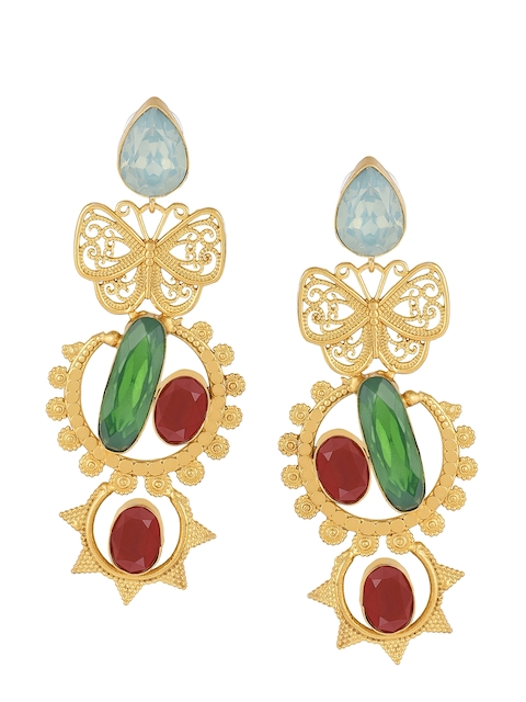 DIVA WALK Gold-Toned & Green Contemporary Drop Earrings