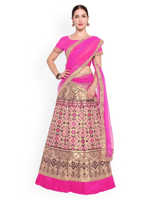 Styles Closet Pink & Cream-Coloured Solid Semi-Stitched Lehenga & Blouse with Dupatta