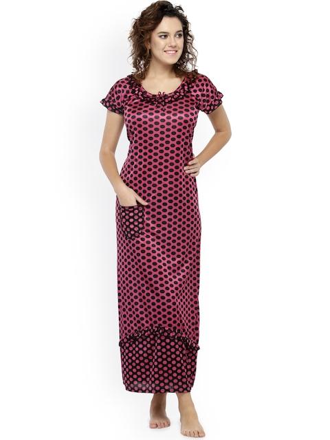 N-Gal Pink & Black Printed Nightdress