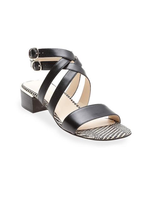 Nine West Women Black Woven Design Leather Sandals
