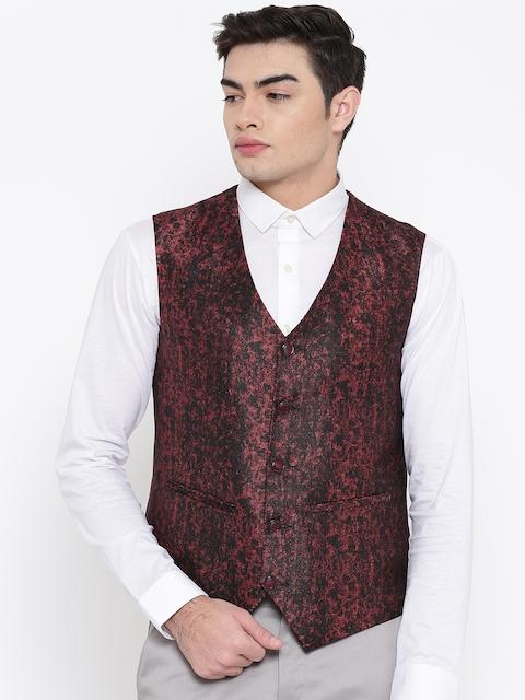 Platinum Studio Men Maroon Printed Waistcoat