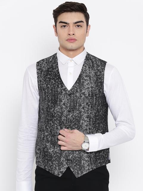 Platinum Studio Men Grey Printed Waistcoat