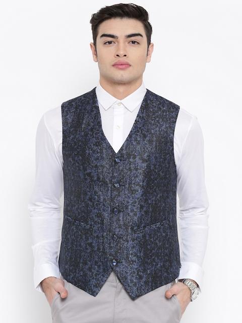 Platinum Studio Men Blue Printed Waistcoat