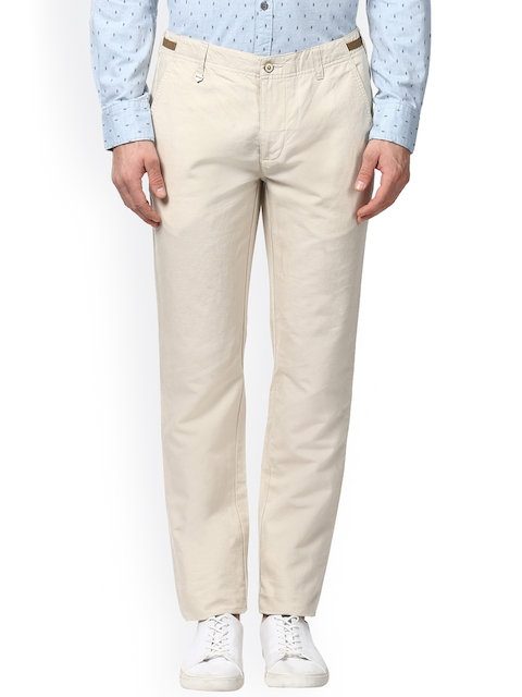 Park Avenue Men Beige Tapered Fit Solid Regular Trousers