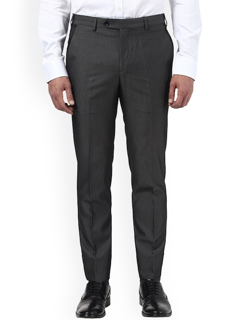 Park Avenue Men Black Slim Fit Self Design Regular Trousers