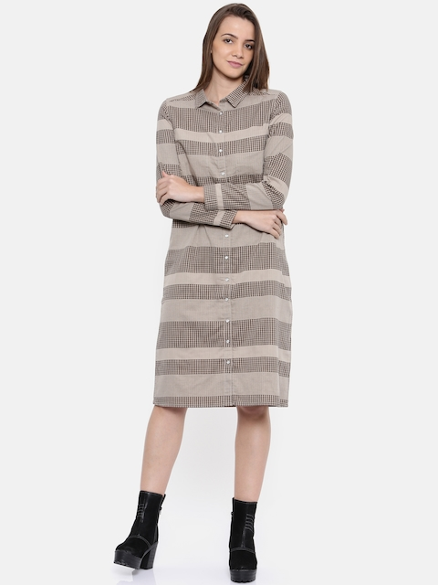 Roadster Women Beige Checked Shirt Dress