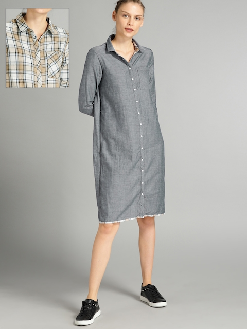 Roadster Women Beige & Grey Checked Reversible Shirt Dress
