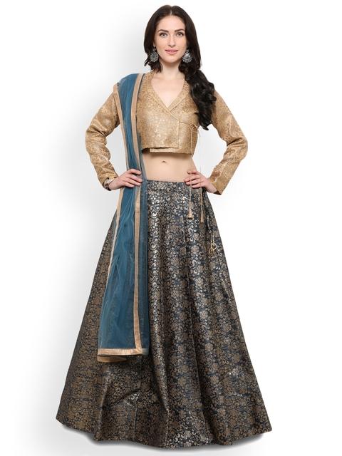 Inddus Turquoise Blue Semi-Stitched Lehenga & Blouse With Dupatta