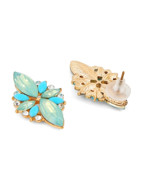 Foxy Sperks Blue & Gold-Toned Floral Studs