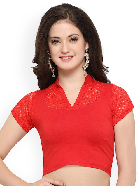 Janasya Red Solid Saree Blouse