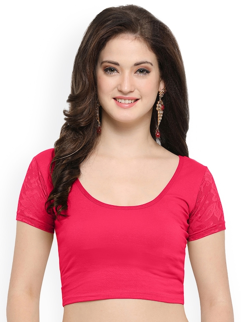 Janasya Pink Solid Saree Blouse