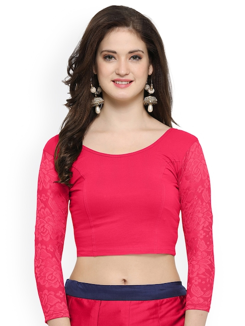Janasya Pink Cotton Lycra Saree Blouse