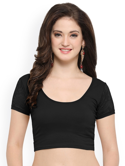 Janasya Black Solid Saree Blouse