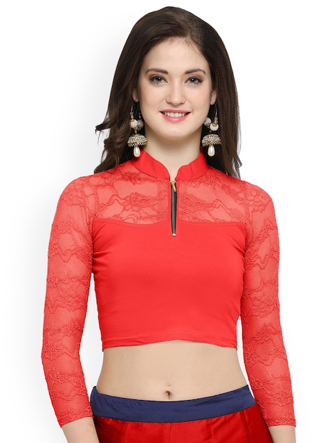Janasya Red Cotton Lycra Saree Blouse