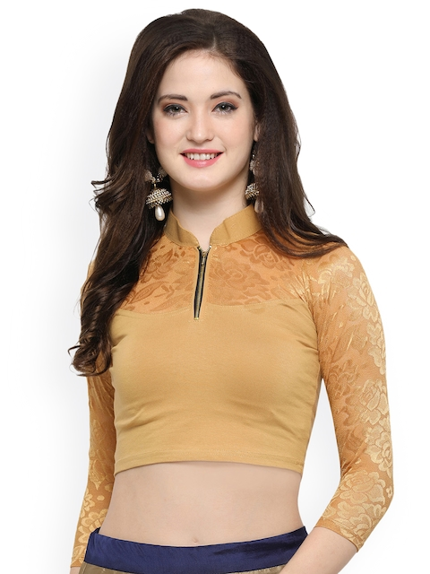 Janasya Beige Solid Saree Blouse