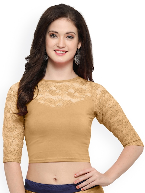 Janasya Beige Cotton Lycra Saree Blouse