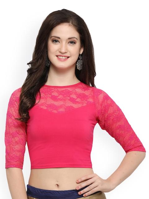 Janasya Pink Cotton Lycra Saree Blouse