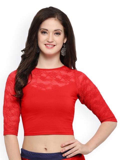 Janasya Red Cotton Lycra Saree Blouse