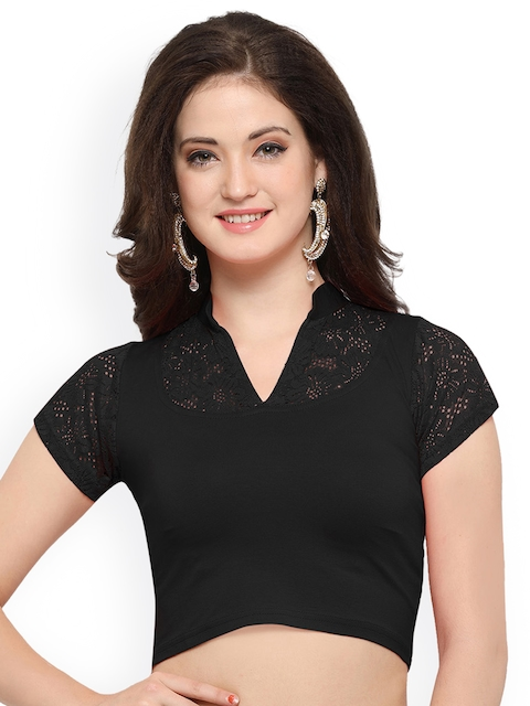 Janasya Black Solid Saree Blouse