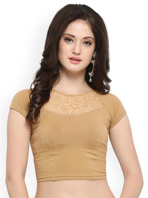 Janasya Beige Cotton Lycra Saree Blouse