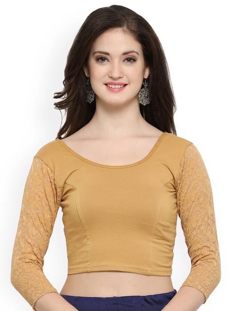 Janasya Beige Solid Saree Blouse