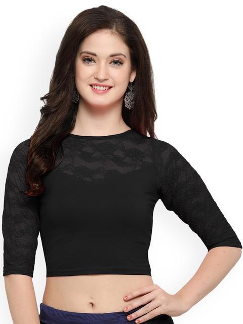 Janasya Black Cotton Lycra Saree Blouse