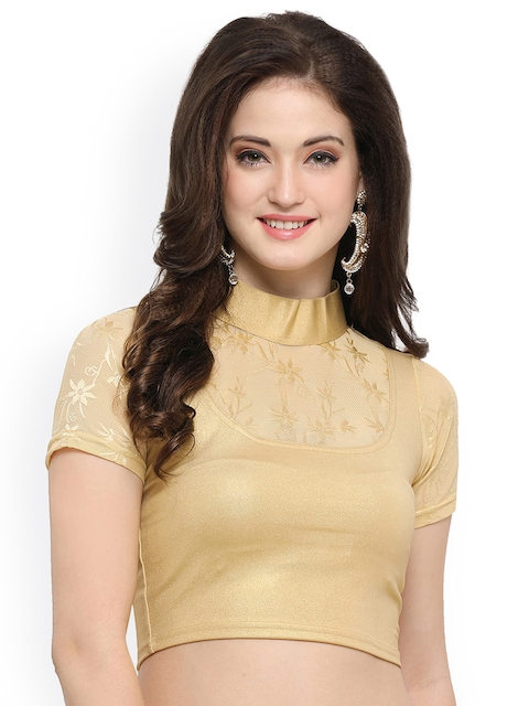 Janasya Gold-Toned Cotton Lycra Saree Blouse