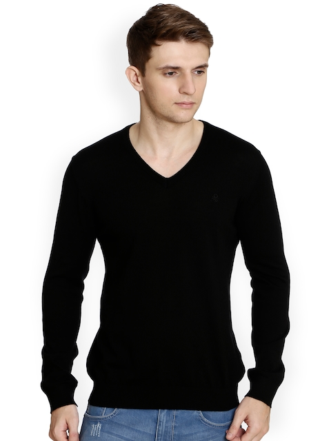 United Colors of Benetton Men Black Solid Pullover