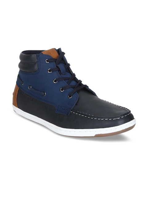 Red Tape Men Navy Blue Solid Synthetic Mid-top Flat Boots