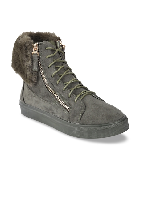 Lovely Chick Women Green Perforations Suede High-Top Flat Boots