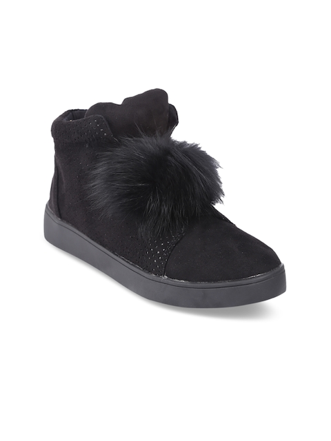 lovely chick women black solid Synthetic Suede mid-top flat boots