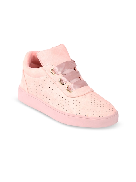 Lovely Chick Women Pink Perforations Synthetic Mid-top Flat Boots