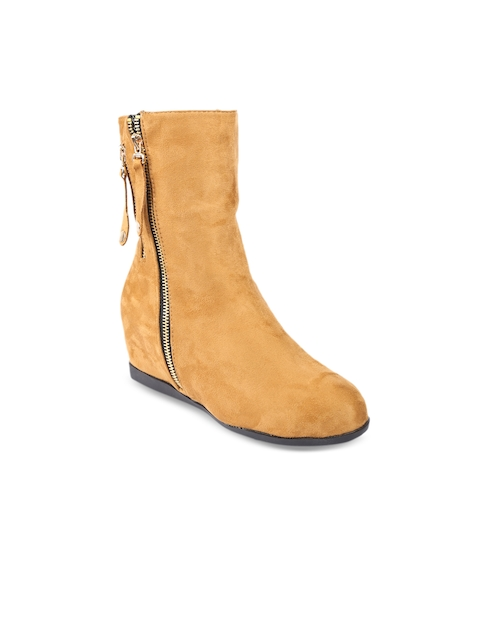 Lovely Chick Women Mustard Perforations Suede High-Top Flat Boots