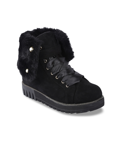 lovely chick women black solid Suede high-top flat boots