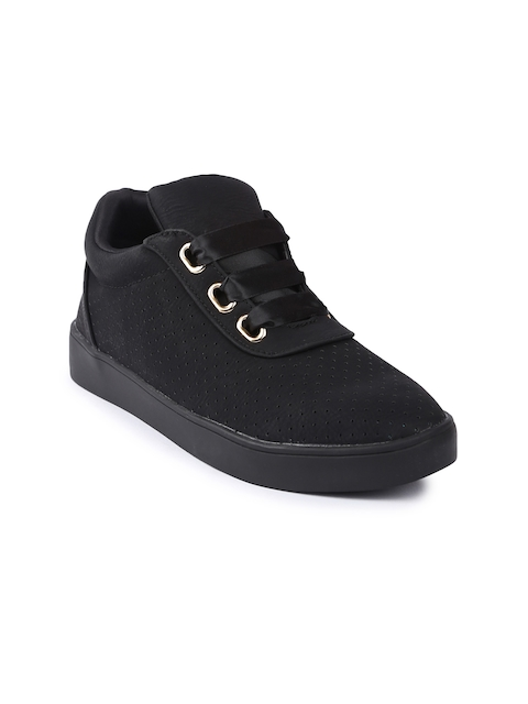 Lovely Chick Women Black Perforations Synthetic Mid-Top Flat Boots