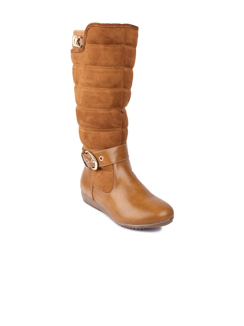 Lovely Chick Women Brown Perforations Synthetic Suede High-Top Flat Boots