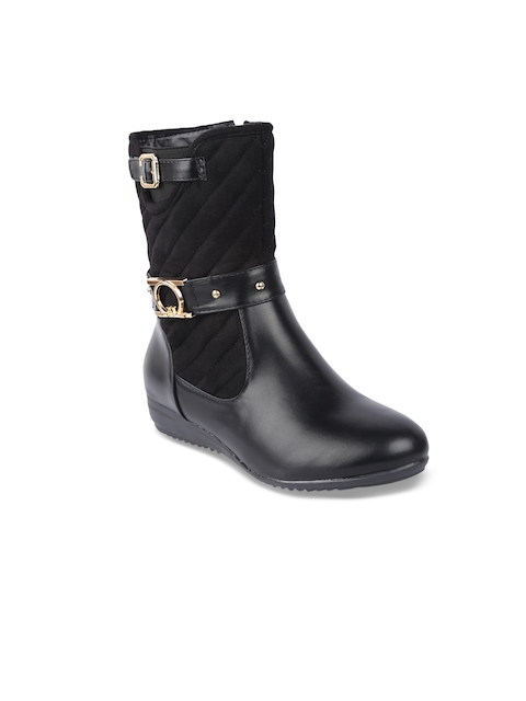 lovely chick women black solid Synthetic Suede high-top flat boots