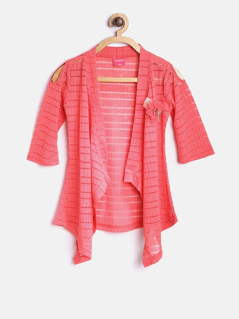 Tiny Girl Coral Pink Self-Design Open Front Shrug