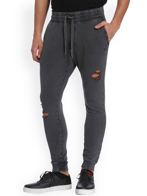 Jack & Jones Men Charcoal Grey Slim Fit Solid Joggers