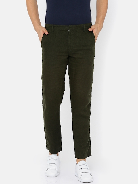 Jack & Jones Men Green Slim Fit Solid Trousers