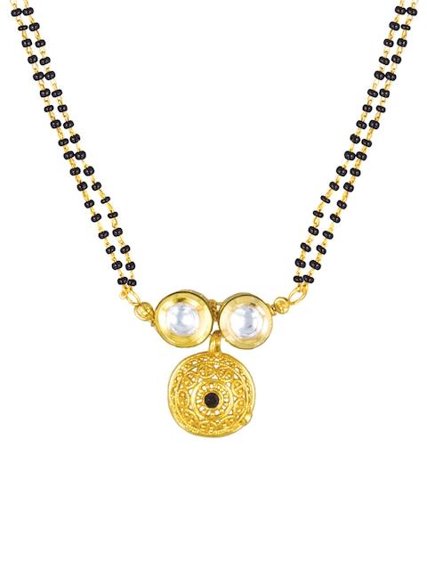 Sia Art Jewellery Gold-Toned & Black Beaded Dual-Stranded Mangalsutra