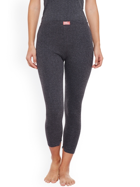NEVA Women Charcoal Grey Solid Thermal Bottoms