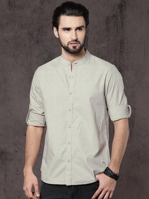 Roadster Men Beige Printed Regular Fit Casual Shirt