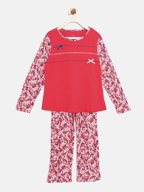 Sweet Dreams Girls Red & Off-White Printed Night Suit 6114G7