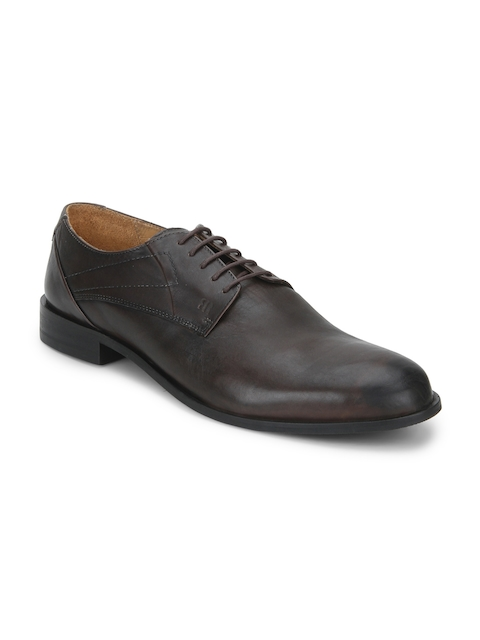Raymond Men Brown Round-Toed Leather Derby Shoes