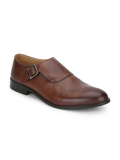Raymond Men Brown Round-Toed Leather Monk Shoes