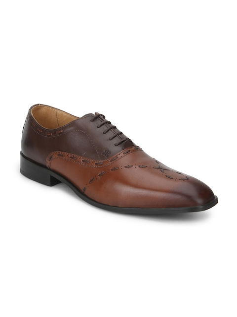 Raymond Men Brown Square-Toed Leather Oxfords