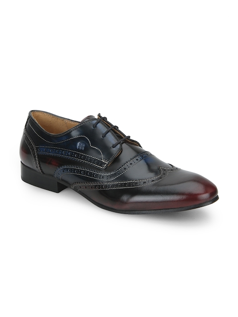 Raymond Men Blue & Brown Colored Round-Toed Leather Derby Shoes